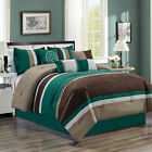 Chezmoi Collection 7p Pinsonic Quilted Trellis Striped Pleated Comforter Set