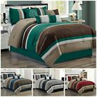 Chezmoi Collection 7pc Pinsonic Quilted Trellis Striped Pleated Comforter Set image
