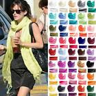 NEW Fashion Womens Summer Mens Smooth Silk Solid Long Pashmina Shawl Wrap Scarf