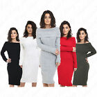 Women's Ladies Off Shoulder Ribbed Knitted Jumper Dress Bardot Midi Dress 8-14