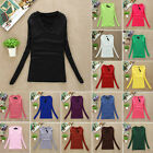 FALL Womens Long Sleeve SLIM V-Neck Plain Basic Ladies Stretch T-Shirt Top New