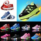 Kids LED Light Lace Up Wheels Roller Skate Shoes Boys Girls Running Sneaker Gift