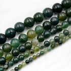 """4mm 6mm 8mm 10mm 12mm Natural Green Moss Agate Gemstone Round Spacer Beads 15.5"""""""