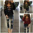 Hot Women Deep V Neck Lace Up Shirt Blouse Lady Long Sleeve Pullover T-shirt Top