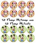24 Baby Mickey & Minnie Mouse Edible Cupcake Toppers Icing or Wafer