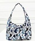 B041 Purple Blue Black Love Heart Printed Canvas Punk Rock Zip Hobo Casual Bag