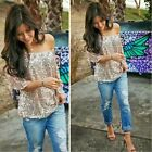 Plus Women Trendy Loose Top Short Sleeve Casual Blouse Sequins Tops T-Shirt NEW