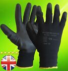 24 PAIRS NEW BLACK PU COATED WORK GLOVES BUILDERS MECHANIC CONSTRUCTION GRIP XL