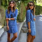 Fashion Women Casual Blue Denim Jean Short Mini Dress Long Sleeve Shirt TXST