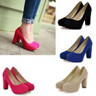 New Women Lady Chunky High Heel Platform Bridal Wedding Prom Party Work Shoes K