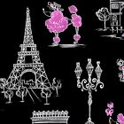 C'EST LA VIE - INK & ARROW -  PARIS AND POODLES ON BLACK 100% cotton fabric
