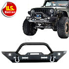 Front Bumper Built-In LED Lights with Winch Plate for Rock Crawler 07-16 Jeep JK