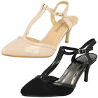 Ladies Anne Michelle T-Bar Heeled Court Shoes Style F9888