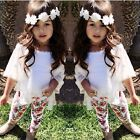 3PCS Toddler Kids Baby Girls Cardigan+Tank Tops+Floral Pants Outfits Clothes Set