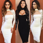 Women Fashion Slim Bodycon Party Cocktail Long Sleeve Lace Pencil Midi Dress Hot