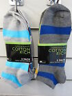 Mens RJM Accessories Striped Quality Cotton Rich Trainer Socks 3 Pairs SK114