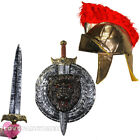 ROMAN HELMET SILVER SWORD AND SHIELD SET GLADIATOR CENTURION FANCY DRESS COSTUME