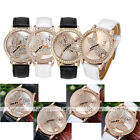 Ladies Black White PU Leather Strap Rose Gold Case Rhinestone Wristband Watch