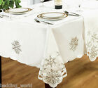 SNOWFLAKE WHITE SILVER TABLE CLOTHS EMBROIDERED CUT WORK PARTY CHRISTMAS XMAS