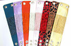 "LADIES WIDE WRISTBAND CUFF 5cm(2"") CHOICE OF COLOURS METALIC BUY 2 GET 1 FREE"