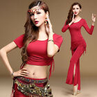 Women New Modal Oriental Belly Dance Costume Set Dancing Cropped Top Flare Pants