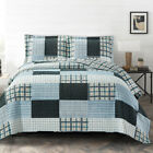Zoe Reversible Quilted Printed Patchwork Oversized Bed Coverlet Set  image