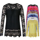 New Womens Ladies Chiffon Long Sleeve Loose T Shirt Blouse Top Puls Size S~5XL ❤