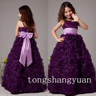 Spaghetti Strap Princess Flower Girl Dresses Ruche Birthday Formal Gowns Pageant