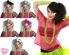 LADIES 1980S COSTUME PINK MESH TOP, WIG AND 4 PACK NEON BEADS RAVE FANCY DRESS