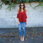Sexy Lace Patchwork Women Pleated Solid Strappy Chiffon Blouse Top Shirt Tees