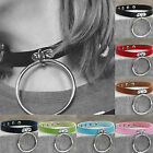 SUP Gothic Punk Chain PU Leather Cord Charm O-Ring Choker Belt Collar Necklace