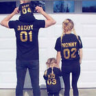 Summer Family Fitted Number Short Sleeve Mom Dad Kid Baby T-shirt Casual Black K