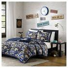 Liam Camouflage Print Quilted Coverlet Set - Blue