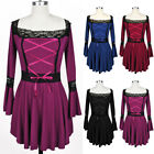 Plus Size 5XL Womens Casual Flared Sleeve Lace Up Blouse Casual Shirt Dress Tops