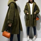New Stylish Womens Warm Faux Sheep Wool Jacket Hooded Thicken Loose Coat Parka