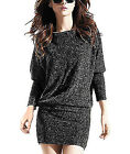 Women's Boat Neck Long Sleeve Batwing Tops Jersey Knitted T-Shirts Tunic Blouse