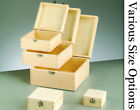 Square Lidded Wooden Boxes with Clasps to Decorate - Choice of Size