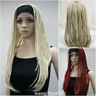 Ladies wig braids wigs 3/4 half wig Headband Cosplay Fancy party wig +Wig cap