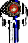 Thin blue Line Punisher- Firefighter- US Marine Corp. Window Decal Various sizes