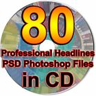 80 Professional Headlines PSD Photoshop Files Web Elements Attention Grabbers CD