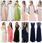 Women's Bridemaid Formal Evening Party Gown Lace Chiffon Patchwork Maxi Dress