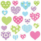 Childrens Pink Love Heart Wall Stickers ColorfulDaisyHearts Hart.9.M