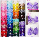 lot 12pc~100pc 3inch Solid Grosgrain Ribbon Elastic bobbles Hair Bands(48 color)