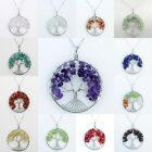 Natural Amethyst Reiki Chakra Chip Beads Tree of Life Healing Pendant Necklace