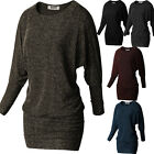 Womens Batwing Long Sleeve Tunic Pullover Jersey Boat Neck T-Shirt Blouse Top