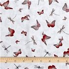 SANTORO - LA VIE EN ROSE - MIRABELLE - BUTTERFLIES & DRAGONFLIES ON GRAY cotton