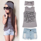 3pcs Kids Baby Girls Summer Outfit Headband+T-shirt Tops+Jeans Pants Clothes Set