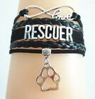 Infinity Love RESCUER With PAW Print Charms Suede Leather Bracelet-Black