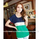 Women Blue Red Color Blocks Loose Short Sleeve Chiffon T-shirt Top Summer Blouse