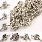 Clear Crystal Rhinestone Silver Loose European Charm Bead Fit Bracelet Tube Cube